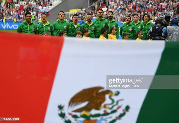 The Mexico team line up prior to the FIFA Confederations Cup Russia 2017 Group A match between Mexico and Russia at Kazan Arena on June 24 2017 in...