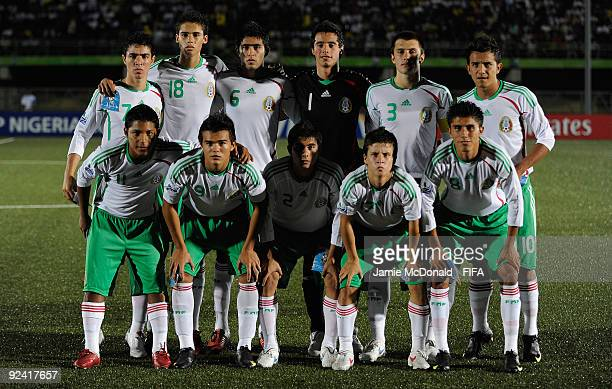 The Mexico team pose for a group photograph during the FIFA U17 World Cup match between Brazil and Mexico at the Teslim Balogun Stadium on October 27...