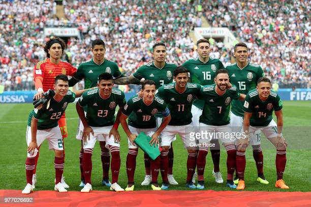 The Mexico team pose for a team photo prior to the 2018 FIFA World Cup Russia group F match between Germany and Mexico at Luzhniki Stadium on June 17...