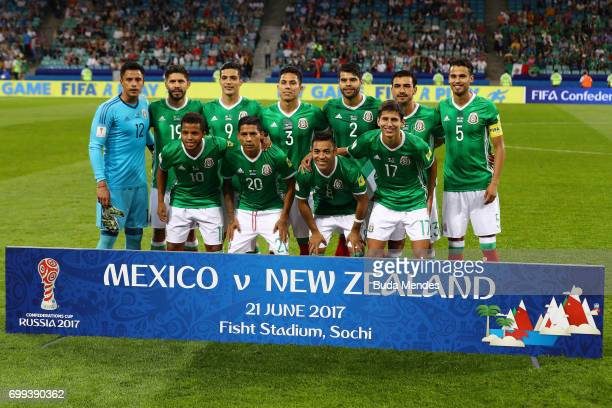 The Mexico team pose for a team photo prior to the FIFA Confederations Cup Russia 2017 Group A match between Mexico and New Zealand at Fisht Olympic...