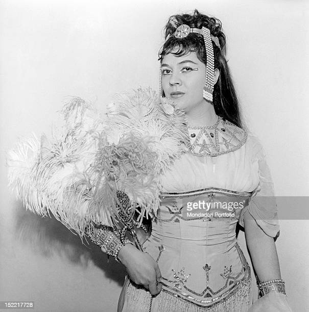 The mezzosoprano Fiorenza Cossotto posing with costume during the rehearsal at the Scala Theatre of Milan of the 'Aida' by Giuseppe Verdi Milan April...