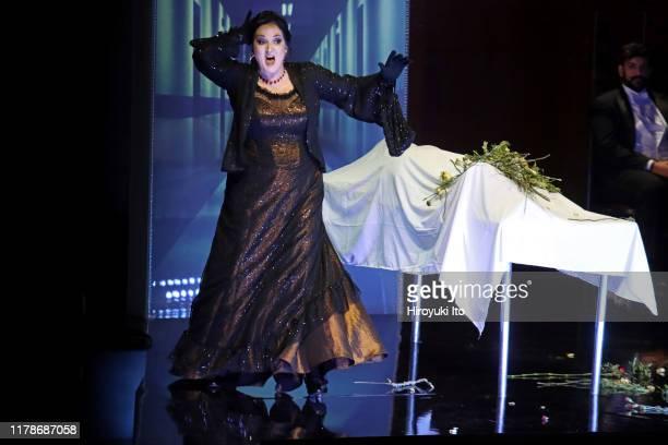 "The mezzo-soprano Katarina Karneus in the New York Philharmonic production of Schoenberg's ""Erwartung"" at David Geffen Hall on Thursday night,..."