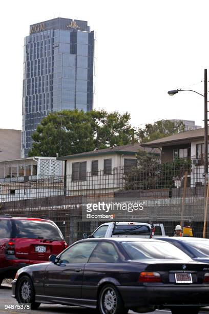 The MGM Tower building rises above traffic and construction on Santa Monica Blvd in Century City California on September 14 2004 Sony and three other...