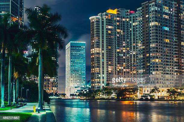 The Miami City Viewed from Miami River at Night