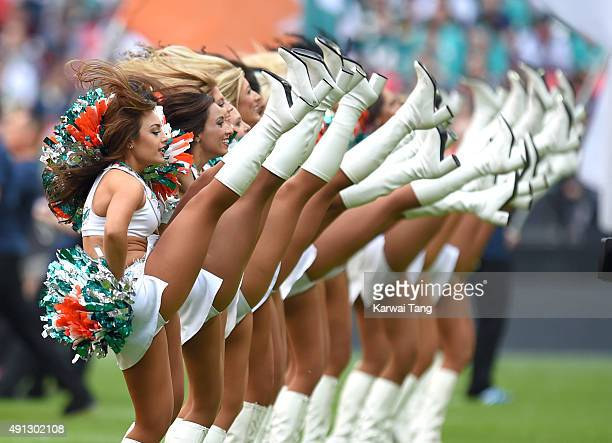 The Miami Dolphin Cheerleaders dance at the NFL International fixture as the New York Jets compete against the Miami Dolphins at Wembley Stadium on...