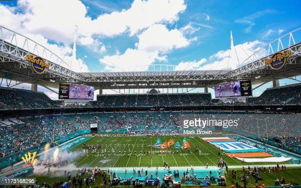 The Miami Dolphins are introduced prior to the game against the Baltimore Ravens at Hard Rock Stadium on September 08, 2019 in Miami, Florida.