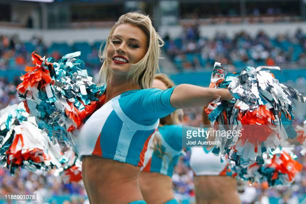The Miami Dolphins cheerleaders perform during a break in action against the Buffalo Bills during an NFL game on November 17, 2019 at Hard Rock...