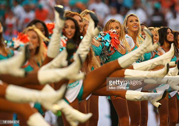 The Miami Dolphins cheerleaders perform during a game against the Atlanta Falcons at Sun Life Stadium on September 22 2013 in Miami Gardens Florida