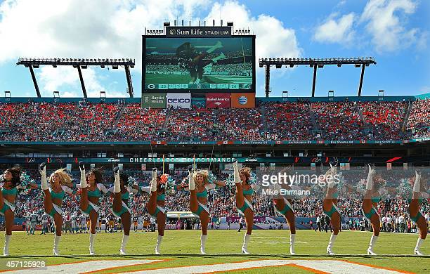 The Miami Dolphins cheerleaders perform during a game against the Green Bay Packers at Sun Life Stadium on October 12 2014 in Miami Gardens Florida