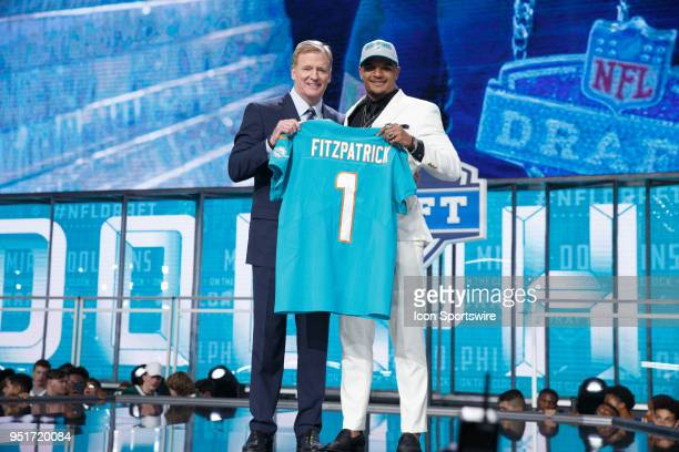 The Miami Dolphins select Alabama Defensive Back Minkah Fitzpatrick eleventh overall during the first round of the NFL Draft on April 26, 2018 at...