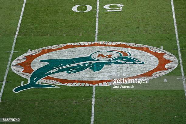 The Miami Dolphins wore throwback jerseys and pointed their original logo at midfield for the game against the Buffalo Bills on October 23 2016 at...