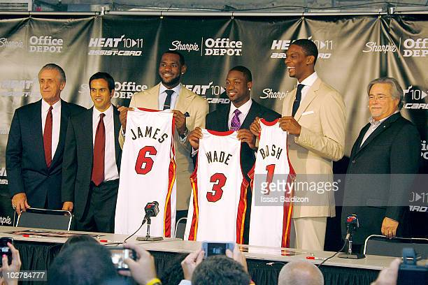 The Miami Heat announce the resigning of Dwyane Wade and welcome LeBron James and Chris Bosh on July 9 2010 at American Airlines Arena in Miami...