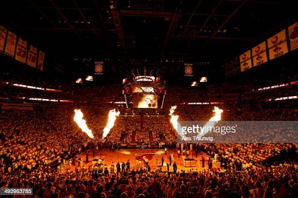 The Miami Heat are introduced prior to Game Four of the Eastern Conference Finals of the 2014 NBA Playoffs against the Indiana Pacers at American...