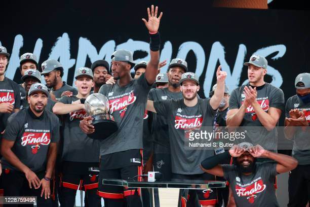 The Miami Heat celebrate after winning Game Six of the Eastern Conference Finals of the NBA Playoffs on September 26, 2020 at The AdventHealth Arena...