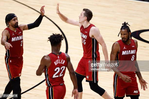 The Miami Heat celebrate against the Chicago Bulls during the third quarter at American Airlines Arena on April 24, 2021 in Miami, Florida. NOTE TO...