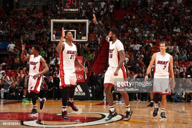 The Miami Heat celebrate during the game against the Minnesota Timberwolves on March 17 2017 at American Airlines Arena in Miami Florida NOTE TO USER...