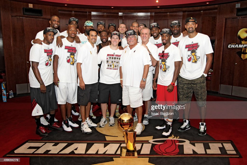 The Miami Heat celebrate the 2013 Championship after the Parade of Champions down Biscayne Boulevard on June 24, 2013 at American Airlines Arena in Miami, Florida.