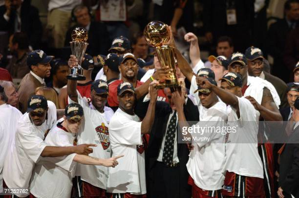 The Miami Heat celebrates after winning the NBA Championship in Game Six of the 2006 NBA Finals on June 20 2006 at the American Airlines Center in...