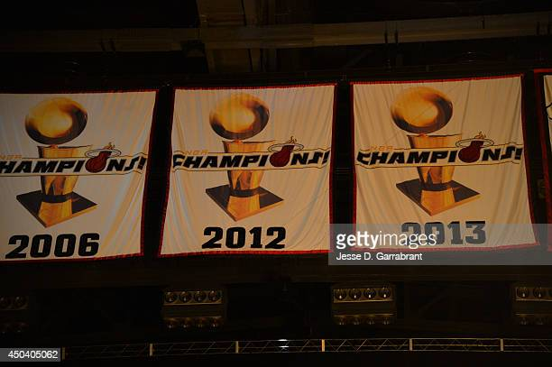 The Miami Heat championship banners hang before Game Three of the 2014 NBA Finals against the San Antonio Spurs on June 10 2014 at American Airlines...