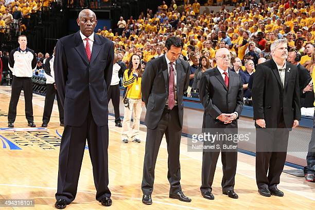The Miami Heat coaching staff Bob McAdoo Erik Spoelstra and Ron Rothstein before the game against the Indiana Pacers in Game Five of the Eastern...