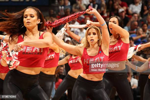 The Miami Heat dance team is seen against the Chicago Bulls on April 7 2016 at AmericanAirlines Arena in Miami Florida NOTE TO USER User expressly...