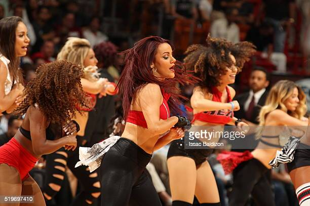 The Miami Heat dance team is seen during the game against the Chicago Bulls on April 7 2016 at AmericanAirlines Arena in Miami Florida NOTE TO USER...