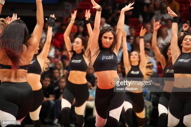 The Miami Heat dance team performs during the game against the Philadelphia 76erson March 1 2017 at AmericanAirlines Arena in Miami Florida NOTE TO...