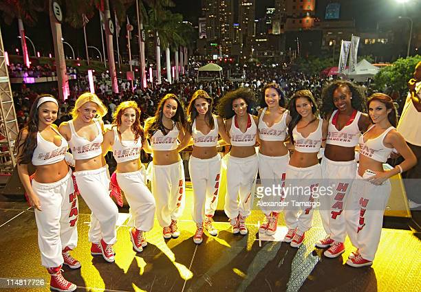 The Miami HEAT Dancers are seen at the Miami Heat White Hot Road Rally presented by TMobile Sidekick 4G at American Airlines West Plaza on May 26...