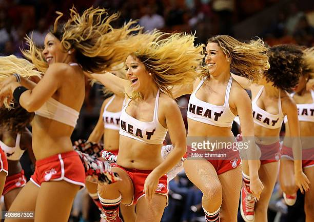 The Miami Heat dancers perform during a preseason game against the Washington Wizards at American Airlines Arena on October 21 2015 in Miami Florida...