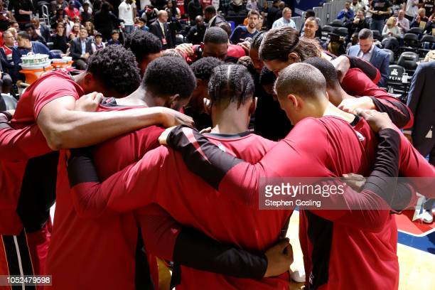 The Miami Heat huddle before the game against the Washington Wizards on October 18 2018 at the Capital One Arena in Washington DC NOTE TO USER User...