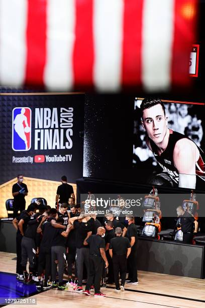 The Miami Heat huddle prior to the start of the game against the Los Angeles Lakers in Game Six of the 2020 NBA Finals at AdventHealth Arena at the...