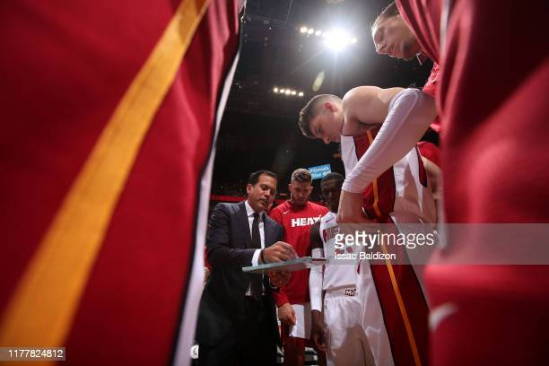 The Miami Heat huddle up against the Memphis Grizzlies on October 23 2019 at American Airlines Arena in Miami Florida NOTE TO USER User expressly...