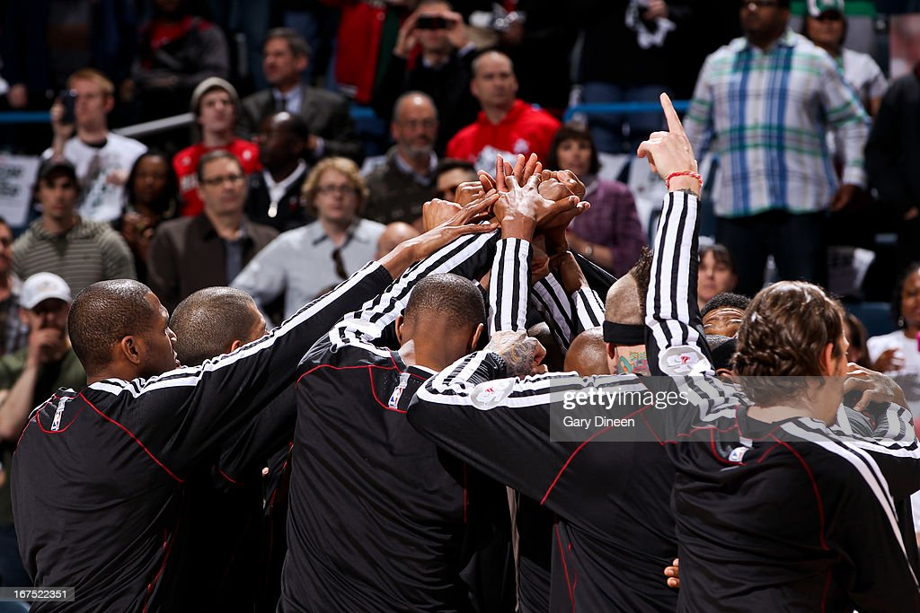 The Miami Heat huddle up before playing against the Milwaukee Bucks in Game Three of the Eastern Conference Quarterfinals during the 2013 NBA Playoffs on April 25, 2013 at the BMO Harris Bradley Center in Milwaukee, Wisconsin.