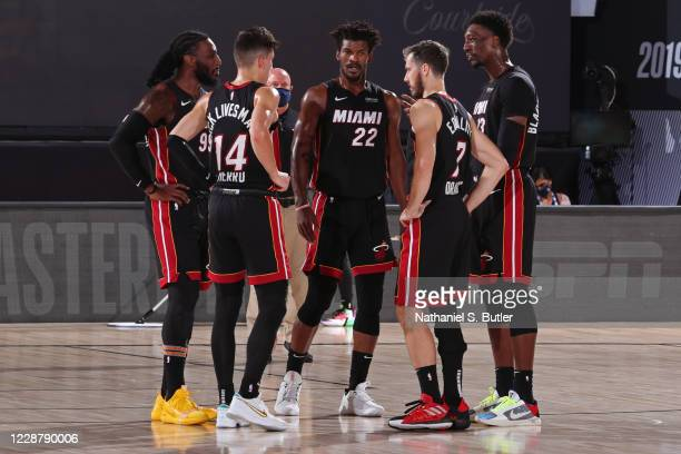 The Miami Heat huddle up during Game Six of the Eastern Conference Finals of the NBA Playoffs on September 26, 2020 at The AdventHealth Arena at ESPN...