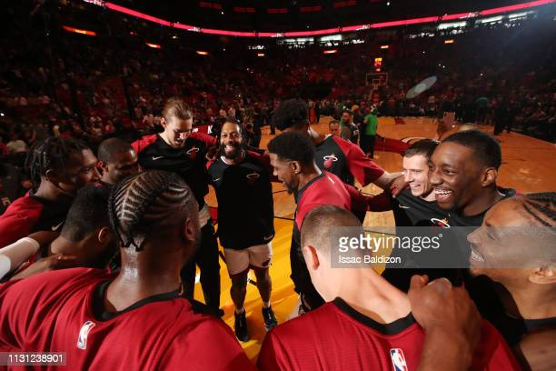 The Miami Heat huddle up prior to the game against the Charlotte Hornets on March 17 2019 at American Airlines Arena in Miami Florida NOTE TO USER...