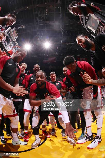 The Miami Heat huddle up prior to the game against the Philadelphia 76ers on April 9 2019 at American Airlines Arena in Miami Florida NOTE TO USER...