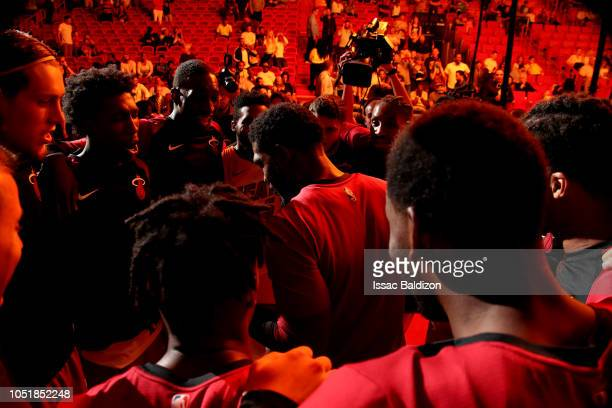 The Miami Heat huddles up against the New Orleans Pelicans during a preseason game on October 10 2018 at American Airlines Arena in Miami Florida...