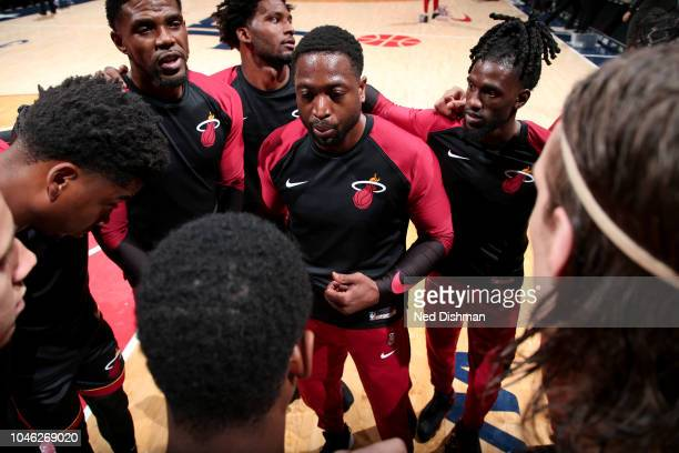 the Miami Heat huddles up during a preseason game against Washington Wizards on October 5 2018 at Capital One Arena in Washington DC NOTE TO USER...
