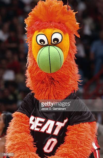 The Miami Heat mascot Burnie entertains the audience during an intermission in the game against the Washington Wizards at American Airlines Arena on...