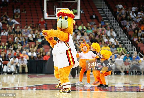 The Miami Heat mascot performs during the NBA preseason game against the Orlando Magic at KFC YUM Center on October 7 2015 in Louisville Kentucky...
