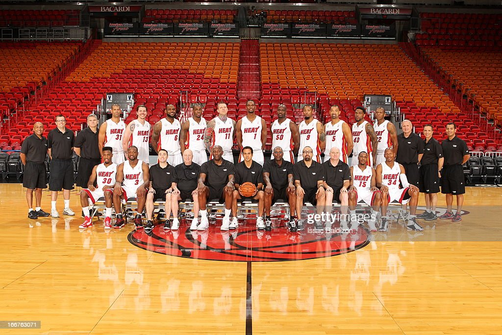The Miami Heat players and coaches pose for a Team Photo on April 15, 2013 at American Airlines Arena in Miami, Florida.