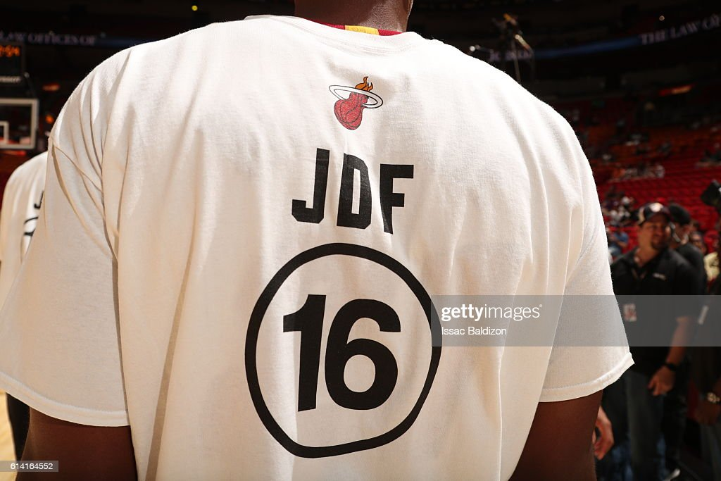 newest d7f3a bb43e The Miami Heat players wear JDF personalized shirts during ...