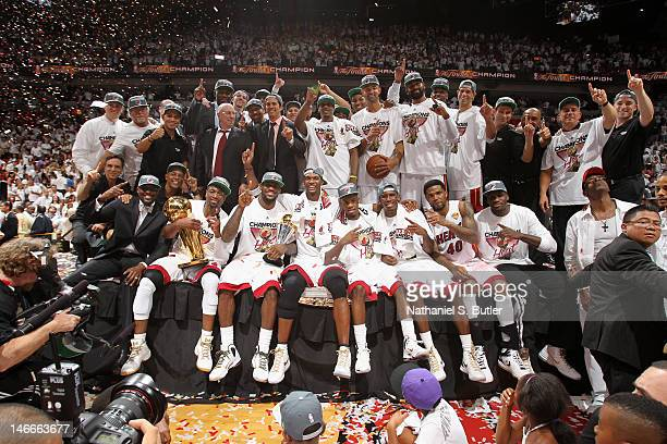 The Miami Heat pose for a team photo after defeating the Oklahoma City Thunder during Game Five of the 2012 NBA Finals to win the NBA Championship at...