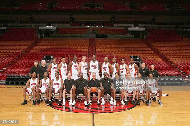 The Miami Heat pose for a team photo on February 26, 2006 at the American Airlines Arena in Miami, Florida. NOTE TO USER: User expressly acknowledges...