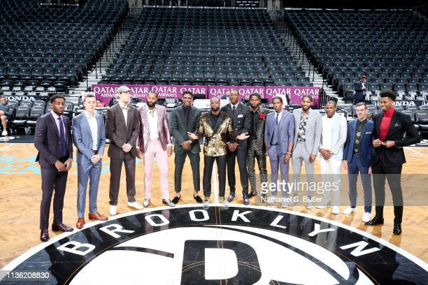 The Miami Heat pose in center court prior to the game against the Brooklyn Nets on April 10 2019 at Barclays Center in Brooklyn New York NOTE TO USER...