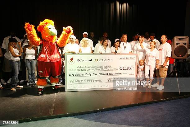 The Miami Heat present a donation during the 2007 Family Festival on April 15 2007 at Watson Island in Miami Florida NOTE TO USER User expressly...