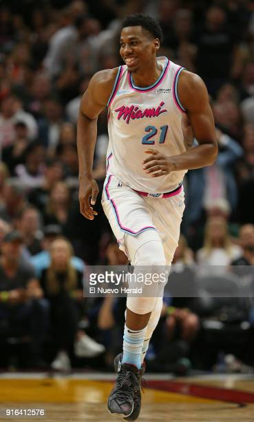 The Miami Heat's Hassan Whiteside reacts after a play during the fourth quarter against the Milwaukee Bucks at the AmericanAirlines Arena in Miami on...