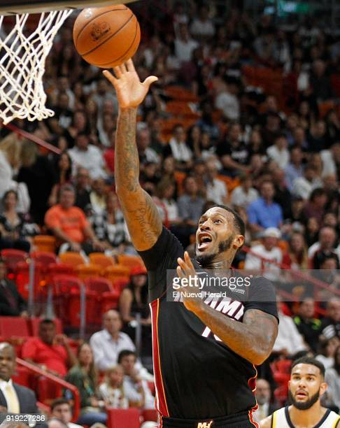 The Miami Heat's James Johnson goes to the basket against the Indiana Pacers at AmericanAirlines Arena in Miami on October 21 2017