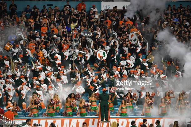 The Miami Hurricanes cheering section in action during the game against the North Carolina Tar Heels at Hard Rock Stadium on September 27 2018 in...