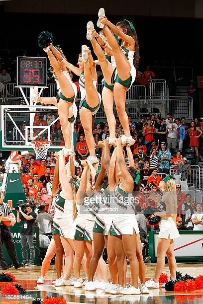 The Miami Hurricanes cheerleaders perform during a second half time out against the Boston College Eagles on February 5 2013 at the BankUnited Center...